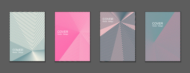 ... halftone covers vector template set with lines graphics. Vector tech journal design geometric shape background set, trendy halftone lines hipster pattern abstract covers collection.