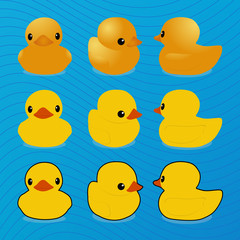 Little rubber ducky toy, vector illustration, set for greeting card, logo