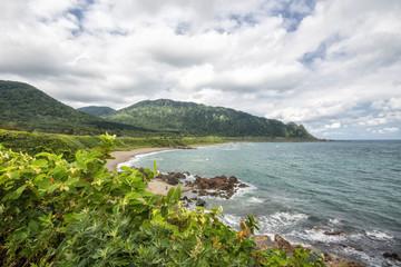 Sea Mountain Scenery at time summer, In Hokkaido, Japan