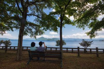 Lake Toya in Shikotsu-Toya National Park, Hokkaido, Japan