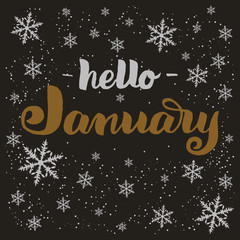 Hand drawn typography lettering phrase Hello January isolated on the dark background with snowflakes. Brush ink calligraphy inscription for winter greeting invitation card, print etc.