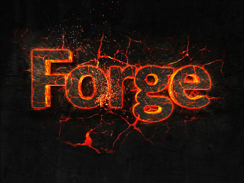 Forge Fire text flame burning hot lava explosion background.