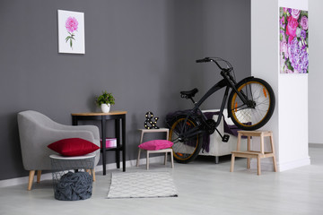 Modern room interior with grey armchair and bicycle