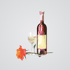 vector hand drawn illustration of bottle and glass of wine and rose flower