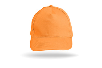 Orange Baseball Cap on a white background.