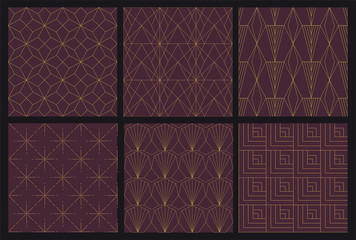 6 Art Deco seamless Pattern - vector swatches included