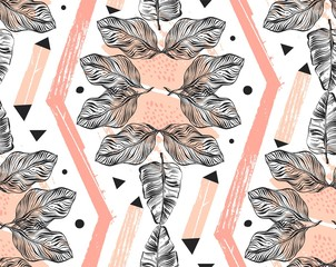 Hand drawn vector abstract freehand textured seamless tropical pattern collage with geometric shape,organic textures,triangles and palm leaves in pink pastel colors isolated on white background
