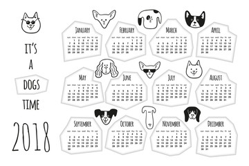 Calendar 2018 with hand-drawn funny dogs on paper background. Black and white style. Vector illustration
