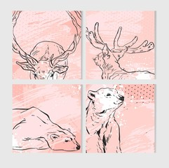 Hand drawn vector abstract fun Merry Christmas time cartoon cards collection set with cute illustrations of graphic deers and polar bears isolated on pink pastel textured background