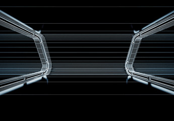 Futuristic tunnel with light and line interior hallway view. Spaceship corridor. Future background, business, sci-fi or science concept 3d illustration