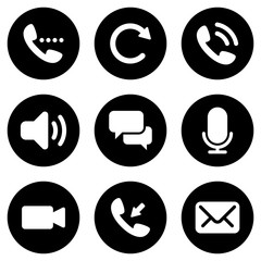 Set of simple icons on a theme phone call, vector, design, collection, flat, sign, symbol,element, object, illustration, isolated. White background