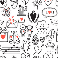 Hand drawn romantic seamless pattern. Lovely symbols. Valentine's day background. Love concept