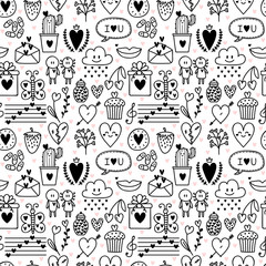 Hand drawn romantic seamless pattern. Lovely symbols. Valentine's day or wedding background. Love concept