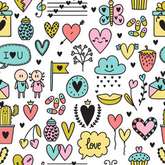 Hand drawn romantic seamless pattern. Lovely symbols. Valentine's day. Love concept. Wedding background. Sketch Birthday design elements