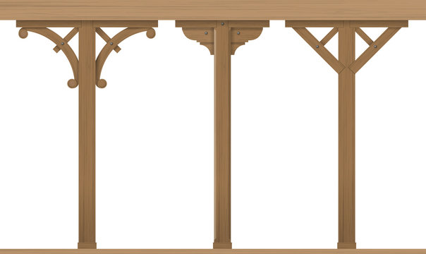 Set of vintage wooden architectural columns for the gazebo or patio. Carpentry. Templates vector graphics