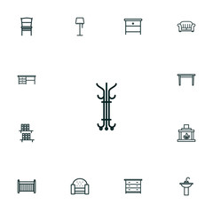 Set Of 13 Set Outline Icons Set.Collection Of Crib, Chair, Desk And Other Elements.