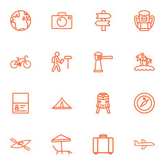Set Of 16 Relax Outline Icons Set.Collection Of Front View Tram, Certificate, Photo And Other Elements.