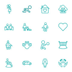 Set Of 16 People Outline Icons Set.Collection Of Soul, Grandfather, Car Elements.