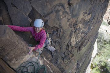 Rock climber Angela Seidling climbing at Red Rocks Conservation Area.