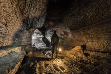 Hiking inside Ape Cave at Mount Saint Hellens.