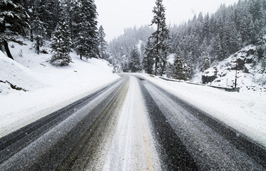 Snowy highway 55 in the winter time.