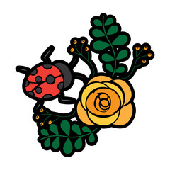 flower and ladybug berries leaves branch decoration vector illustration