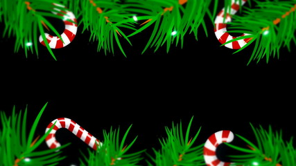 Christmas frame on black background. Abstract backdrop with brunch trees, candys and lights. 3d rendering