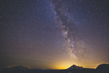 The Milky Way Galaxy Displayed Above Mount Baker As Seen From North Cascades National Park