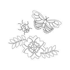 flower and ladybug butterfly leaves spring decoration vector illustration sticker