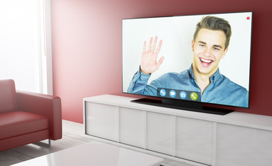 Television smart with video chat app