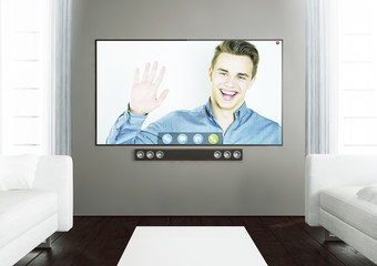 wooden living room with smart tv video chat