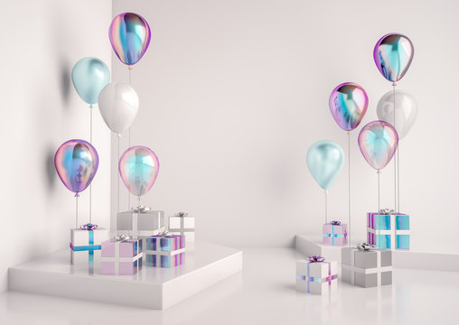 Set of glossy holographic, white and blue foil ballons. White empty space for promotion, presentation, birthday party or other celebration. Realistic 3d illustraton with flying balloons.