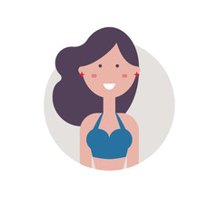 Colorful vector avatar of pretty girl