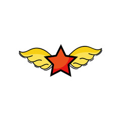 star with wings rock symbol art