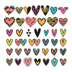 Hand drawn set of colored hearts. Sketch collection for wedding or Valentine's Day design. Cute doodle elements