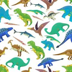 Seamless pattern with dinosaurs, prehistoric fish
