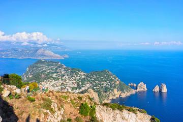 Faraglioni cliffs at Tyrrhenian Sea in Capri Island