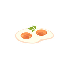 vector flat fried chicken egg with greenery icon for restaurant and cafe menu. Isolated illustration on a white background.