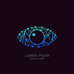 Human low poly eye, vector tech logo, sign or emblem design element. Futuristic concept for biometric recognition, optical, CCTV, retina scan, security camera, cyber vision technology.