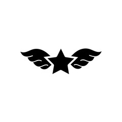 contour star with wings rock symbol art