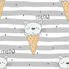 Hand drawn seamless pattern with cute cat, doodle illustration for kids vector print