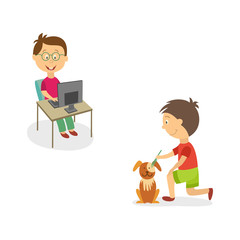 vecotr flat kids doing household chores set. Boy in glasses working at desktop computer, another one combing and grooming dog puppy .Isolated illustration on a white background.