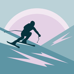 on a background of abstract mountains and sun. a person goes fast on downhill skiing. dark silhouette.