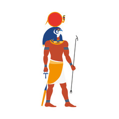 Ra, god of noon sun in ancient Egypt religion, flat cartoon vector illustration isolated on white background. Ra, ancient Egyptian sun god with falcon, hawk head, flat side view full length portrait