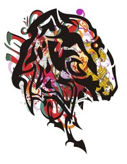 Tribal mustang head splashes. Majestic mustang head with jaguar elements, red wings and arrows symbolizing power and courage. Suitable for team Mascot, corporate identity, community identity, etc.
