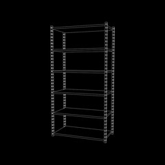 Metal shelving unit. Isolated on black background. 3d Vector illustration.