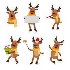 Set of cute funny Christmas reindeer portraits - flute, empty board, selfie, present box, cartoon vector illustration isolated on white background. Set of cartoon Christmas reindeer characters