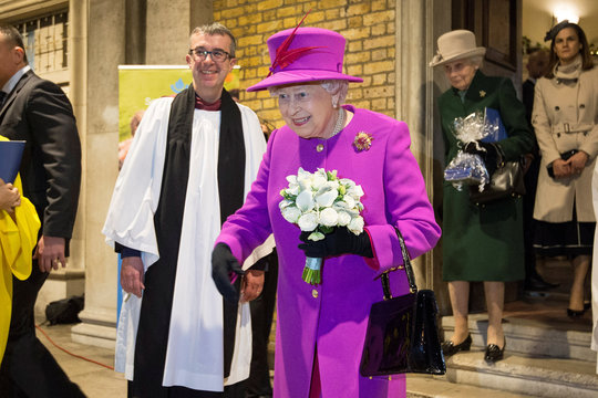 Britain's Queen Elizabeth leaves after the Scripture Union's 150th anniversary service of celebration at St Mary's Church, in London