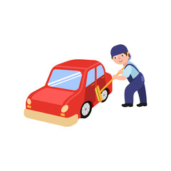 vector flat adult man mechanic in blue uniform holding broom in hands washing red car. Male full lenght portrait caucasian character isolated, illustration on a white background