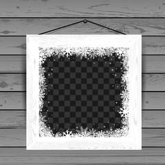 Winter white wooden photo frame